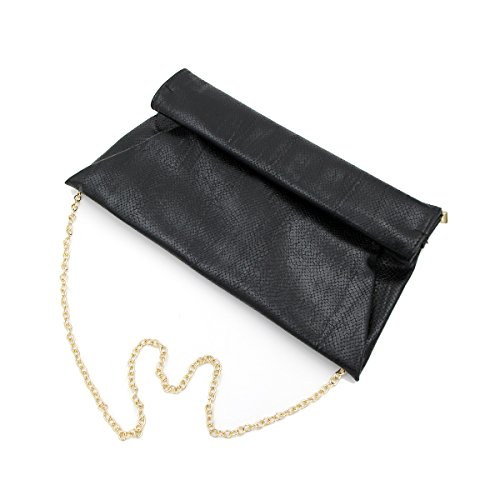 PU Leather Clutch Up Black Bag Snakeskin Premium Diff Flap Colors Roll Evening ZY5Hwxq