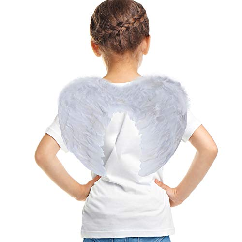 SEVADA Angel Wings for Girls, Christmas Angel Costume Wings, White Feather Angel Wing, Cosplay Accessories Christmas Wings for Kids Children ()