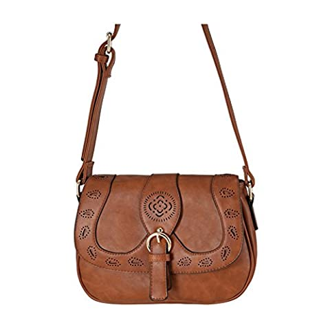 You Star crossbody bag Hollow Out casual Fashion shoulder bags round Saddle brown (Clear Post It Pockets)