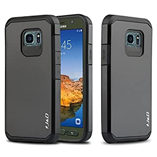 J&D Case Compatible for Galaxy S7 Active Case, Heavy Duty [Dual Layer] Hybrid Shock Proof Protective Rugged Bumper Case for Samsung Galaxy S7 Active Case - [NOT Compatible with Galaxy S7] - Black