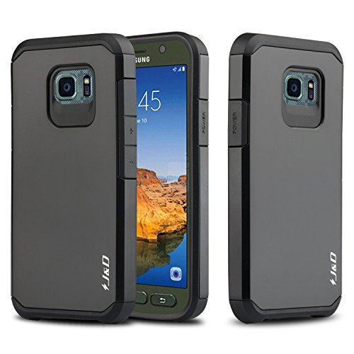 J&D Case Compatible for Galaxy S7 Active Case, Heavy Duty [Dual Layer] Hybrid Shock Proof Protective Rugged Bumper Case for Samsung Galaxy S7 Active Case - [NOT Compatible with Galaxy S7] - Black (Best Galaxy S7 Active Case)