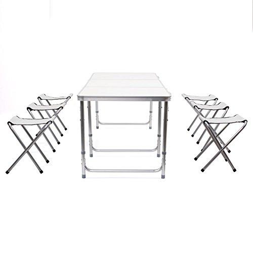 Homfa – Mesa plegable de jardín/acampada. Mesa blanca con 4 sillas ideal para picnics familiares. Set plegable con…