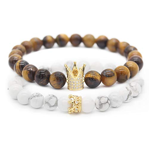 Tiger Brown Bracelet - POSHFEEL 8mm Tiger Eye Stone & White Howlite Stone CZ Crown King Beads His and Hers Couple Bracelet, 7.5