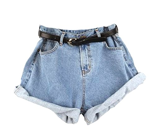 Hot Papijam Women\'s Faded High Waist Crimping Pockets Solid Denim Shorts for cheap Sdh16yUh