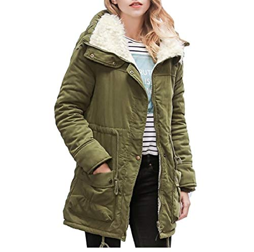 AngelSpace Jacket Wadded Women's Green Casual Size Outwear Cotton Coat Plus Army qFrUwCq
