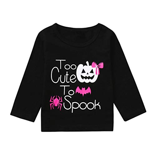 Baby Gilrs Halloween T-Shirts Ankola Autumn Children Kid Letter Print ''Too Cute to Spook''Tops Shirts Tee Clothes (4 Years, Black -1)