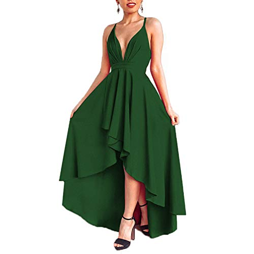 EUMI Women's Sexy V Neck Prom Dress High Low Formal Evening Party Gown,Green XL