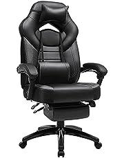 SONGMICS spelstol, kontorsstol med fotstöd, skrivbordsstol, ergonomisk design, justerbart nackstöd, ländryggsstöd, lastbar upp till 150 kg, svart OBG077B01