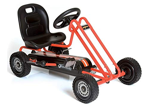 Photo Hauck Lightning - Pedal Go Kart | Pedal Car | Ride On Toys for Boys & Girls with Ergonomic Adjustable Seat & Sharp Handling - Orange
