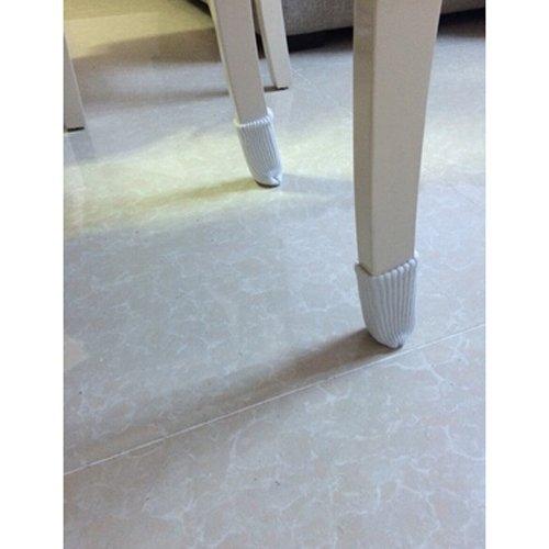 TEKEFT 20PCS Chair Socks, Furniture Leg Feet Wood Floor Protectors Set, Cross Knitted (white) by TEKEFT (Image #2)