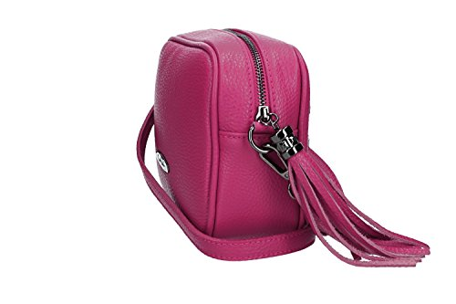Borsa donna a tracolla PIERRE CARDIN fuxia in pelle Made in Italy VN1549