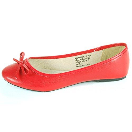 Alpine Swiss Iris Women's Red Genuine Suede Lined Bow Ballet Flats 8 M US