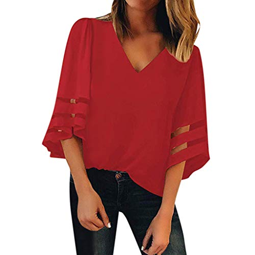 (〓COOlCCI〓2019 New Women's V Neck Mesh Panel Blouse 3/4 Bell Sleeve Loose Top Shirt Panel Loose Blouses Tops Red)