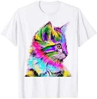 Colorful Cat's head Pop Art Style T-shirt | Size S - 5XL