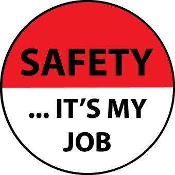 NMC HH77 2'' x 2'' PS Vinyl Hard Hat Emblem w/Legend: ''Safety It'S Your Job'', 12 Packs of 25 pcs