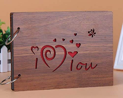 Gesteh DIY Scrapbook Album Photo Album Wood Cover Picture Book with Black Pages for Anniversary Wedding Guest Book Couples Graduation Travel Love Story Memory (I Love You)