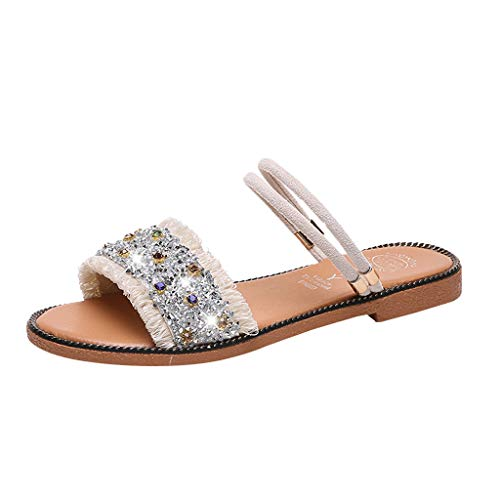 2019 Summer Women Boho Beach Rhinestone Shoes Casual Solid Open Toe Slippers Seaside Comfort Flat Sandals (White, Size:39=US:7)