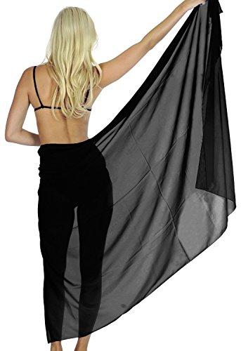 [La Leela Chiffon geometric hibiscus long maxi skirt oversize pareo swim skirt scarf women Solid Plain Black Plus Size Fathers Day Gifts Spring Summer] (Black Toga Dress)