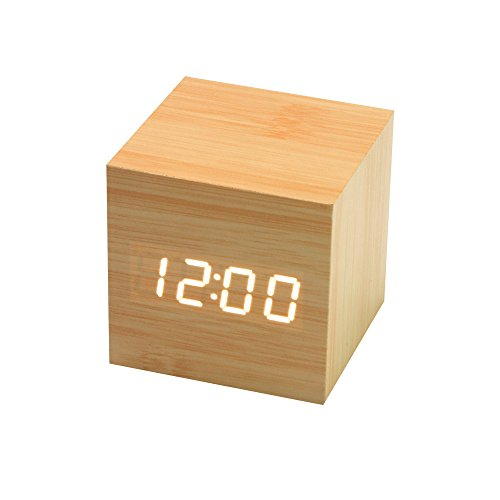 LED Wooden Cube Alarm Clock