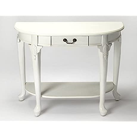 CHARLESTON DEMILUNE CONSOLE TABLE COTTAGE WHITE FINISH