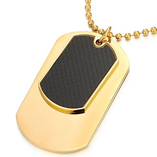 Steel Two-pieces Gold Color Mens Dog Tag Pendant Necklace with Carbon Fiber and 30 inches Ball (Gold Dog Tag Necklace)