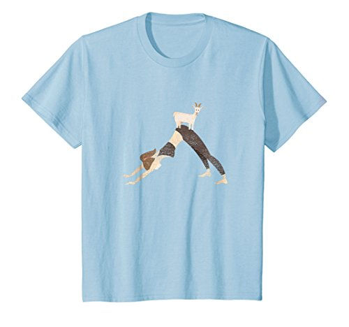 Kids Cute Goat Yoga T-Shirt - Downward Facing Dog Yoga Pose 8 Baby Blue