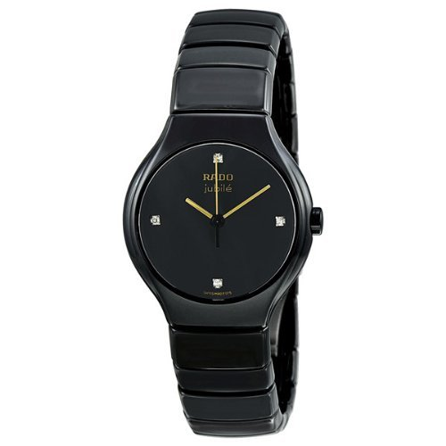 Rado True R27655752 22mm Diamonds Ceramic Case Black Ceramic Synthetic Sapphire Women's Watch