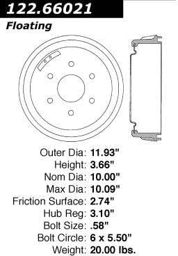 Centric Parts 122.66020 Brake Drum