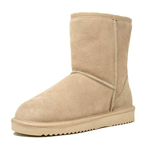 Boot Sheepskin Faux - DREAM PAIRS Women's Shorty Sand Sheepskin Fur Ankle High Winter Snow Boots - 10 M US
