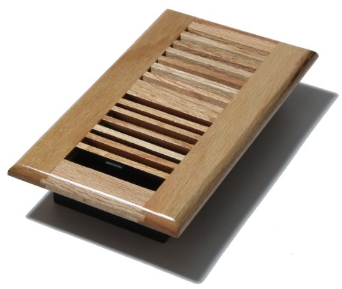 Decor Grates WL408-N Wood Louver Floor Register, Natural Oak, 4-Inch by 8-Inch - Steel 4 Louver