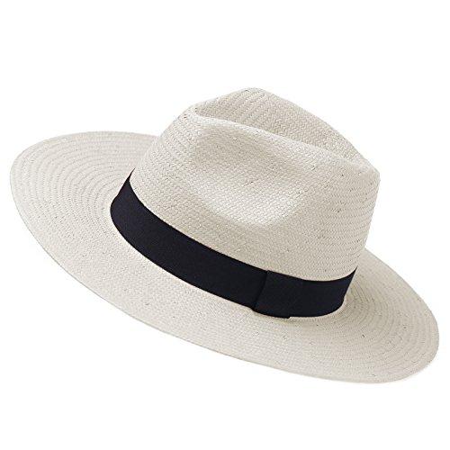 Fedora Straw Classic (Janey&Rubbnis Summer Handmade Wide Brim Classic Fedora Natural Straw Panama Sun Hat (Large (7 3/8~7 1/2) 60cm, White))