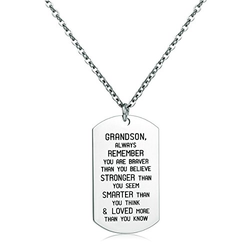 To My GrandSon Dog Tag Military Stainless Steel Pendant Necklace