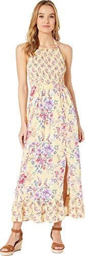 Halter Dress Bodice (Angie Women's Smocked Bodice Halter Maxi Dress Yellow Small)