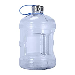 1 Gallon BPA FREE Reusable Plastic Drinking Water Bottle w/ Stainless Steel Cap (Natural Blue)