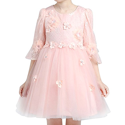 HAWEE Lace Fairy Girl Dress 1/2 Sleeve for Wedd...