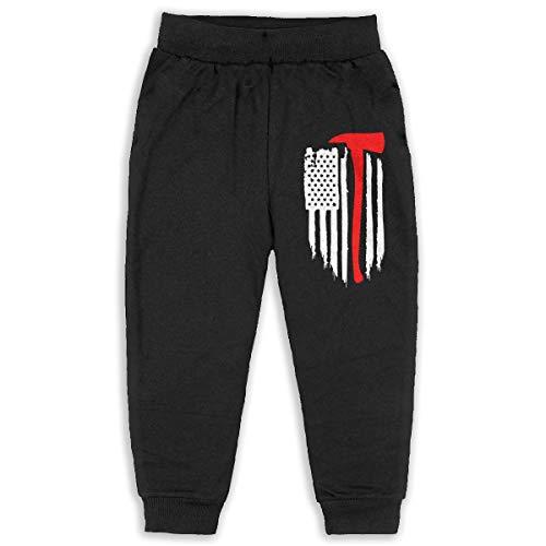 American Flag Firefighter Maltese Cross Axe Fire Halligan Boys Cotton Sweatpants Elastic Waist Pants for 2T-6T