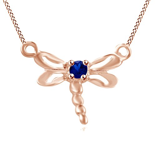 Wishrocks Simulated Blue Sapphire Dragonfly Pendant Necklace 14K Rose Gold Over Sterling Silver