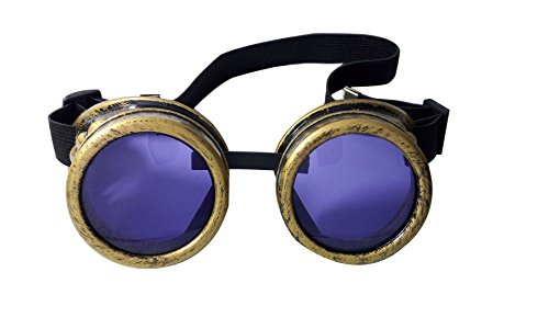 Oudeer Welding Steampunk Goggles Cosplay Victorian Antique Goth Glasses Colorful Lens (Brass Frame Purple (Punk Fancy Dress Ideas)