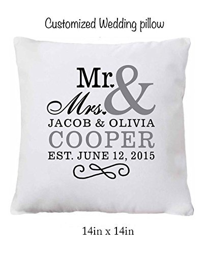 Personalized Pillow Case Custom Wedding Pillow for the couple, 14in x 14in. Your choice of color pillow case!