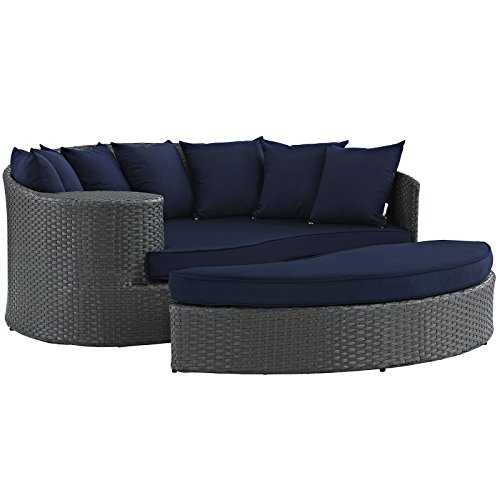 Aluminum Sectional Frame - Modway EEI-1982-CHC-NAV Sojourn Wicker Rattan Outdoor Patio Coffee Table, Daybed, Canvas Navy