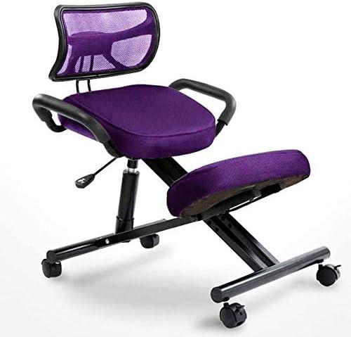 人間工学に基づいたひざまずく椅子、角度と高さが調整可能な姿勢スツール、オフィスと家庭用の膝スツール; ボディシェーピングとストレス解消に最適なひざまずくオフィスチェア,紫色