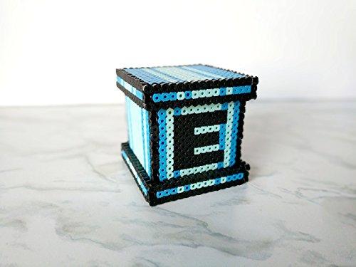 Mega Man Coin Bank - Perler Piggy Bank - Nerdy Storage Cube - Geek Coin Bank - Video Game Decoration - Megaman E Tank