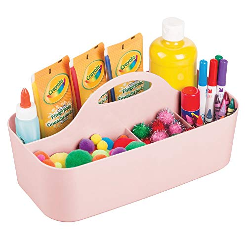 mDesign Plastic Portable Craft Storage Organizer Caddy Tote, Divided Basket Bin with Handle for Craft, Sewing, Art Supplies – Holds Paint Brushes, Colored Pencils, Glue – Small – Light Pink/Blush