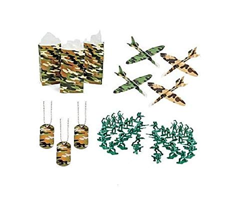 FAKKOS Design Military Army Party Favors Boys Camouflage Dog Tags Favor Bags Gliders Toy Plastic Soldiers 192 Piece Bundle for 12 -