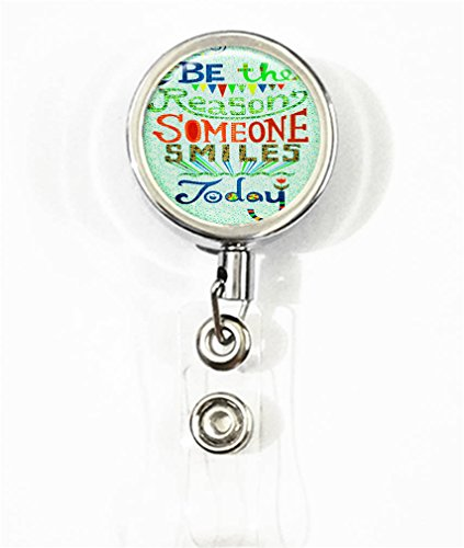 RhyNSky Be The Reason Someone Smiles Today Business ID Card Name Tag Retractable Badge Holder Reel with Belt Clip, Silvery, C1306 ()
