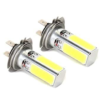 2 x 10W H7 4 LED COB Lampara Bombilla Luz Blanco DC 12V para Coche