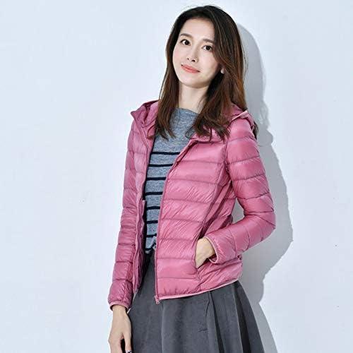 HSKS Rosa autunno e inverno piumino femminile tinta unita slim dimagrante di grandi dimensioni sottile giacca corta con cappuccio-XXL
