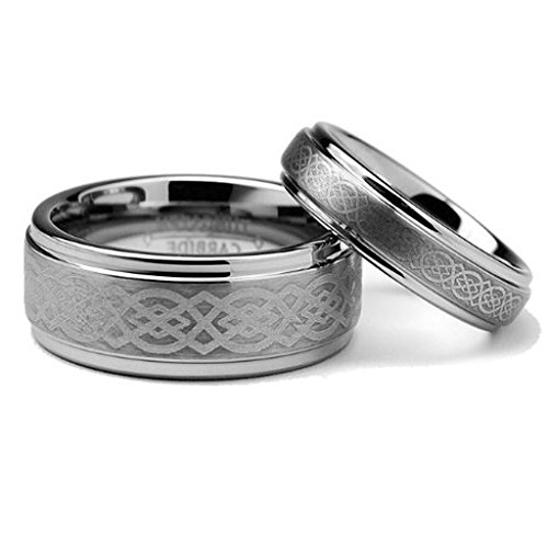 - His & Her's 8MM/6MM Tungsten Carbide Wedding Band Ring Set w/Laser Etched Celtic Design