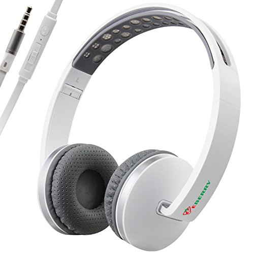 Bluelark Portable 3.5mm Foldable Over-Ear Headphone Headset Wired Pure Musical Audio Headphones Lightweght Cord Earphones Stereo Headsets for Phones, PC, MP3/ MP4 Player and More (Gray white)
