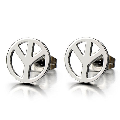 (Unisex Anti-war Peace Sign Stud Earrings for Man and Women, Stainless Steel, 2pcs)